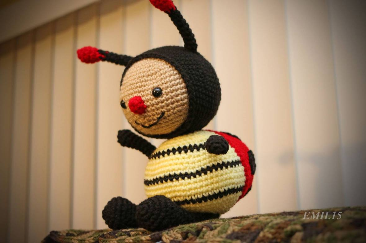 dottie the ladybug, crochet, handmade in hawaii