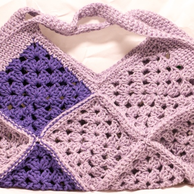 Something by Vera granny bag squares handmade crafts and crochet purple gift baby shower