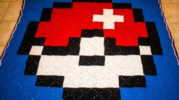 Something by Vera handmade crafts and crochet Pokemon Pokeball blanket squares 8 bit gift kids children baby shower