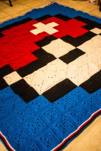 Something by Vera handmade crafts and crochet Pokemon Pokeball blanket squares 8 bit gift kids children baby shower
