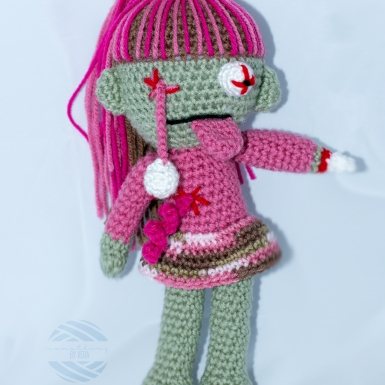 Something by Vera handmade crafts and crochet amigurumi zombie doll girl gift kids children baby shower